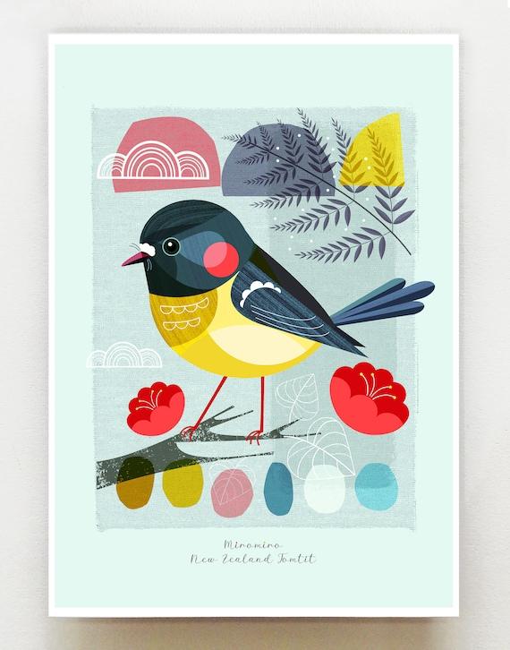 Small birds of New Zealand, Miromiro, Tomtit, print, NZA105