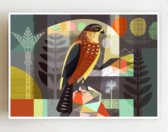 Landscape Karearea, The New Zealand Falcon print NZA27