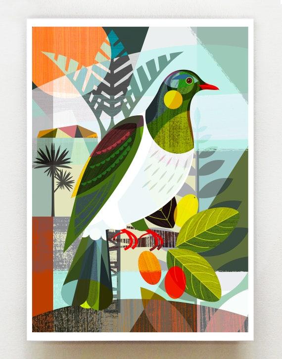 New Zealand, Kereru summer, print, NZA123