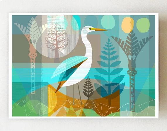 Landscape, New Zealand Kotuku, print, NZA120