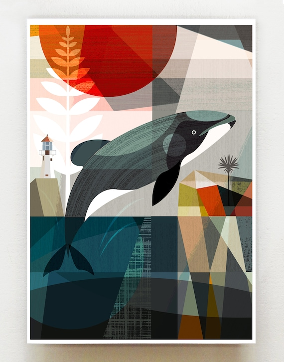Hector's dolphin in the Wellington harbour print, NZA112