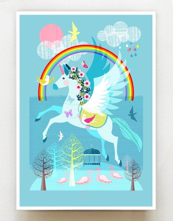 Unicorn, the Rainbow and friends, print, Ellen Giggenbach, DES58