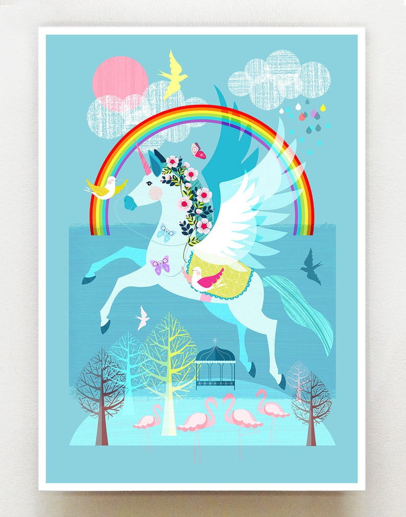 Unicorn the Rainbow and friends print Ellen Giggenbach image 0