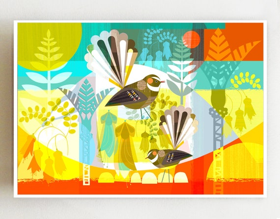 Landscape, 2 New Zealand, fantails, print, NZA37