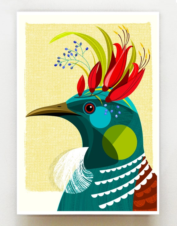 New Zealand Tui with flower crown print, NZA98