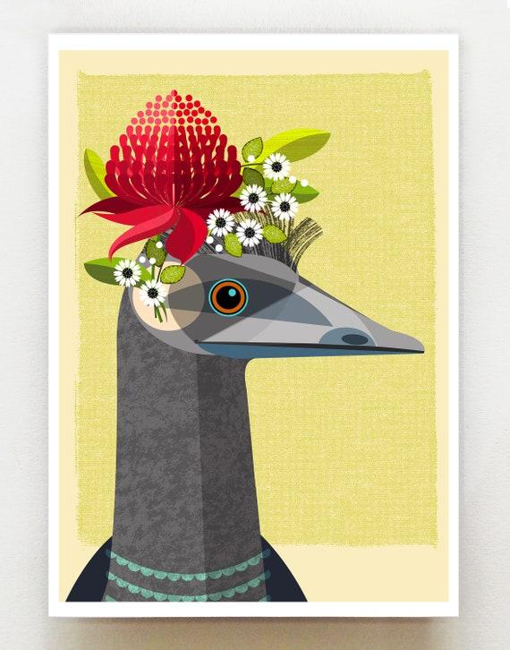 Australian Emu, print, DES70