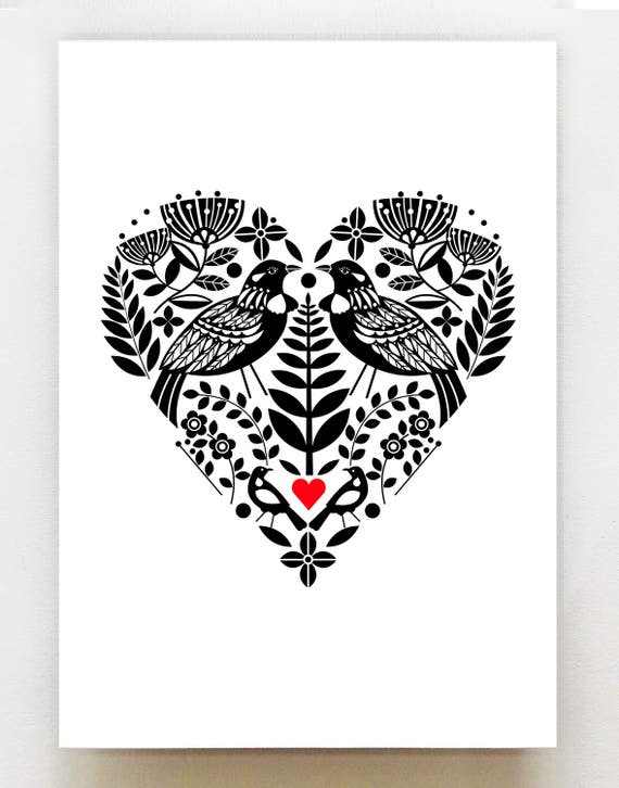 New Zealand Tui, black and white heart, with bright red, print, NZA36
