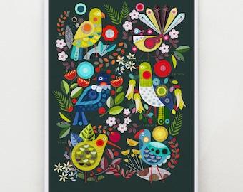 New Zealand, flora and fauna print, Ellen Giggenbach