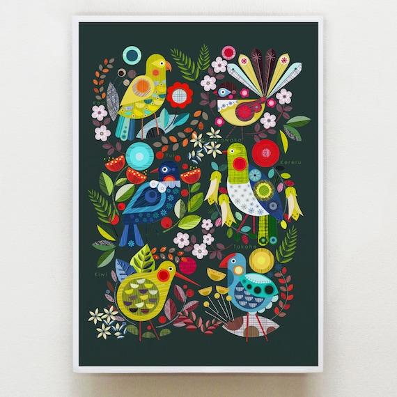 New Zealand flora and fauna print, Ellen Giggenbach, NZA20
