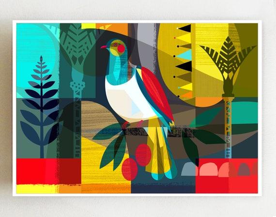 Landscape, New Zealand Kereru, print, NZA40