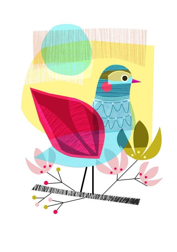 INDIAN SUMMER, bird, Ellen Giggenbach, print, DES35