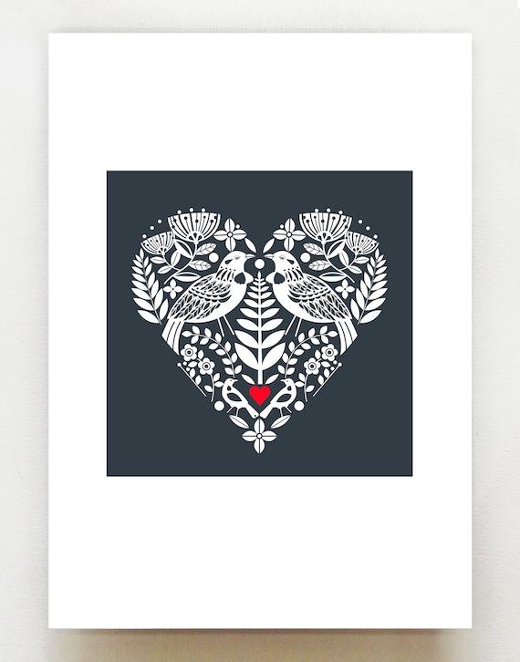 New Zealand native Tui bird, in a royal blue heart, print, NZA10