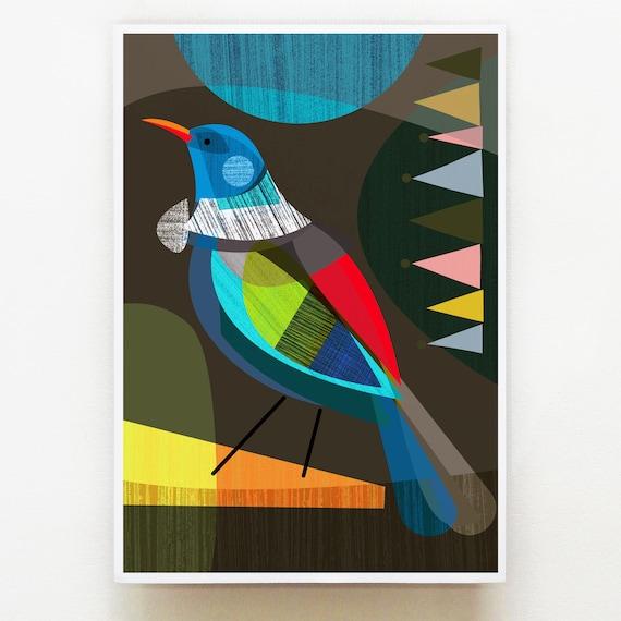 Proud New Zealand Tui, Bird, Print, NZA13