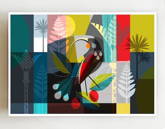 Landscape, New Zealand Huia bird print, NZA1