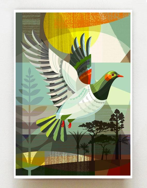 The flight of the Kereru, New Zealand native bird print, NZA109