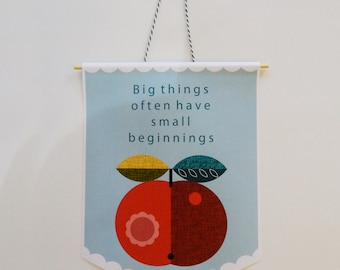 paper, wall hanging, banner with a message