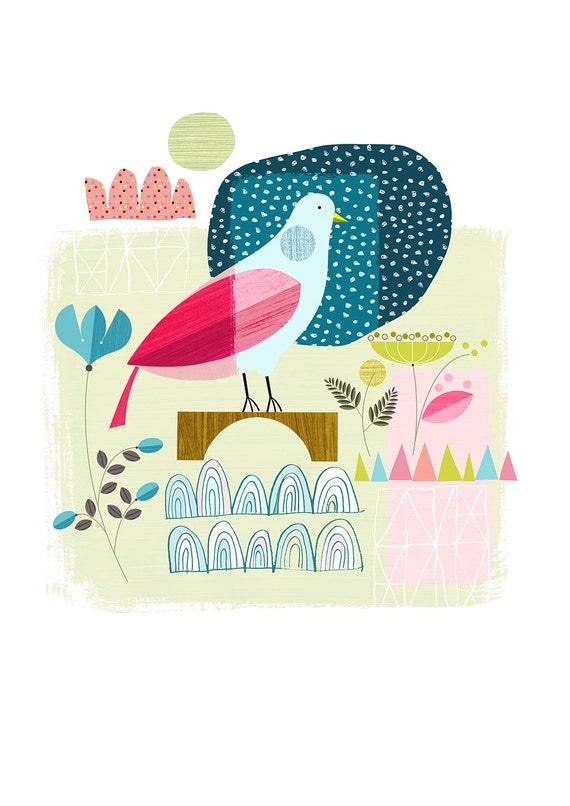 pretty blue bird, summer, print, DES10