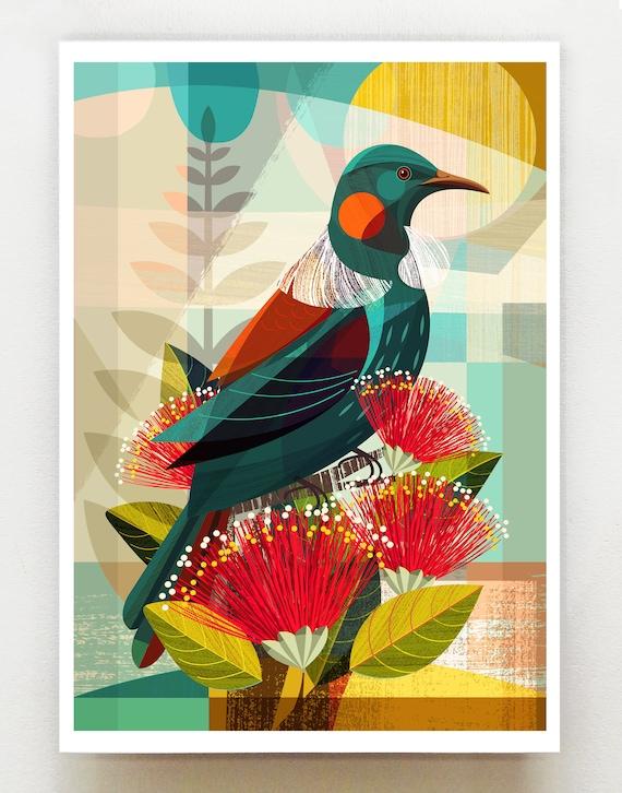 New Zealand, Tui in Pohutukawa, print, NZA124