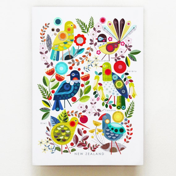 Native New Zealand Flora and Fauna print on white, NZA47
