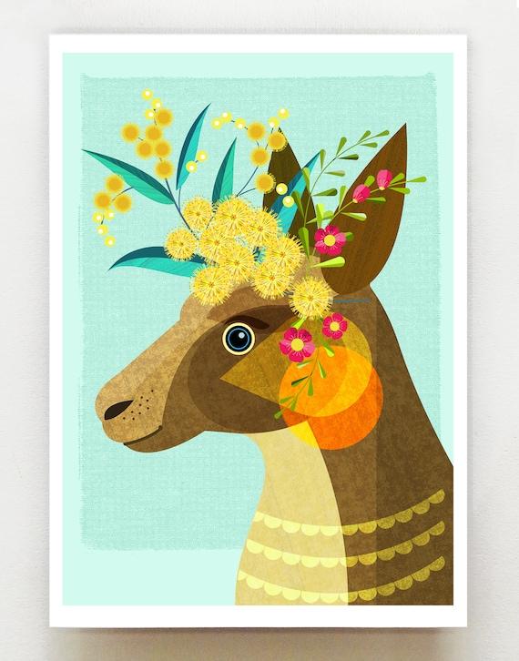 Australian Kangaroo, print, DES71