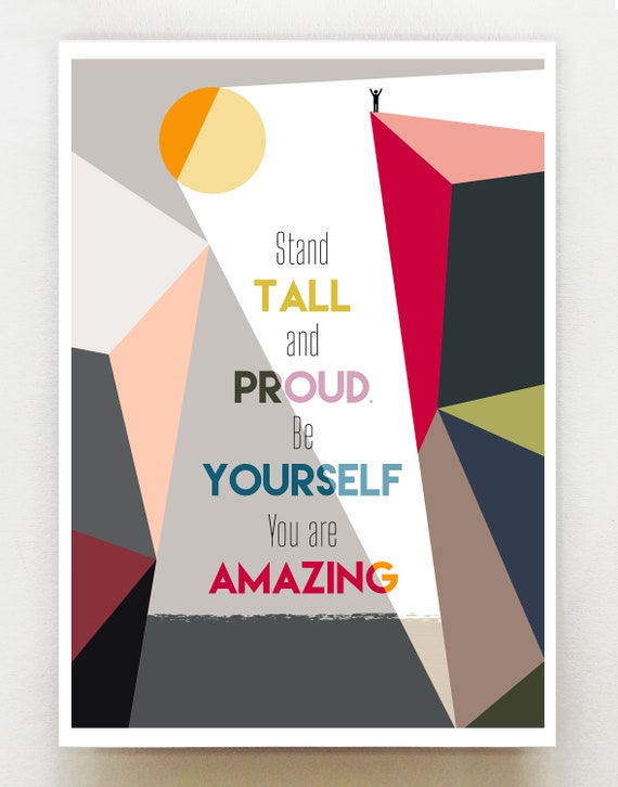 Stand Tall, positive quote, print, GEO83