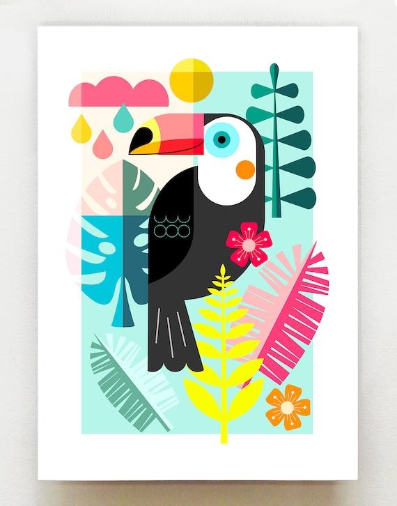Mr Toucan, jungle print, DES60
