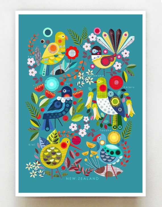 New Zealand Flora and Fauna on blue, NZA115