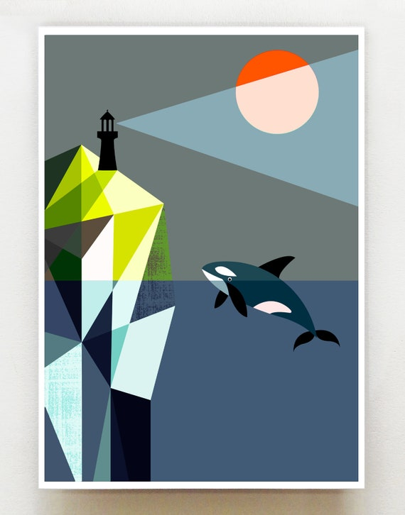 Orca and the lighthouse print, GEO1