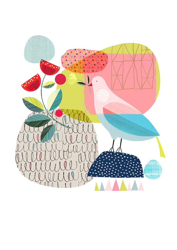 Pretty bird, springtime, print, DES15