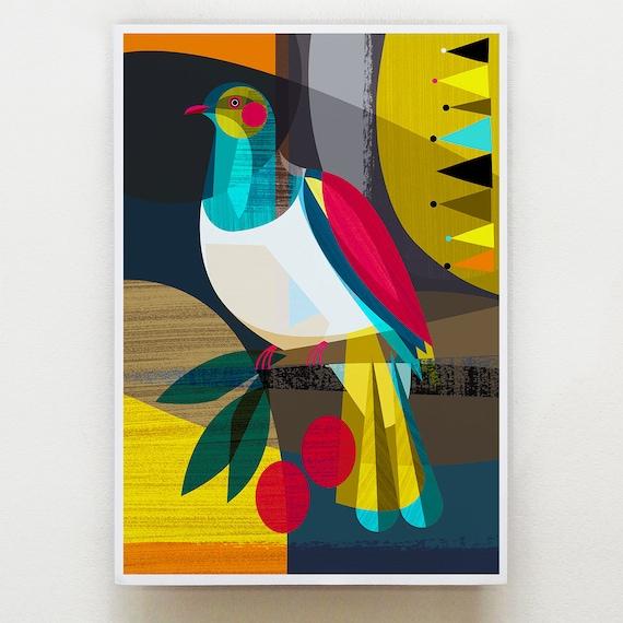 New Zealand Kereru Wood Pigeon print, NZA14