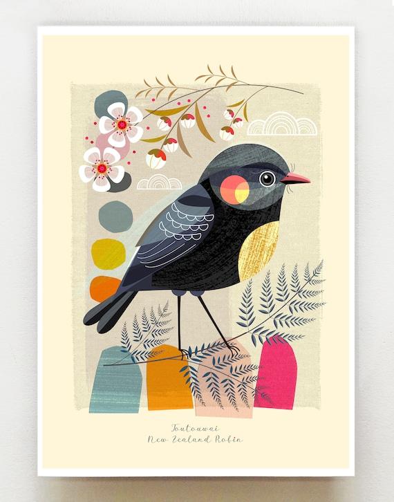 Small birds of New Zealand, Toutouwai, Robin, print, NZA106