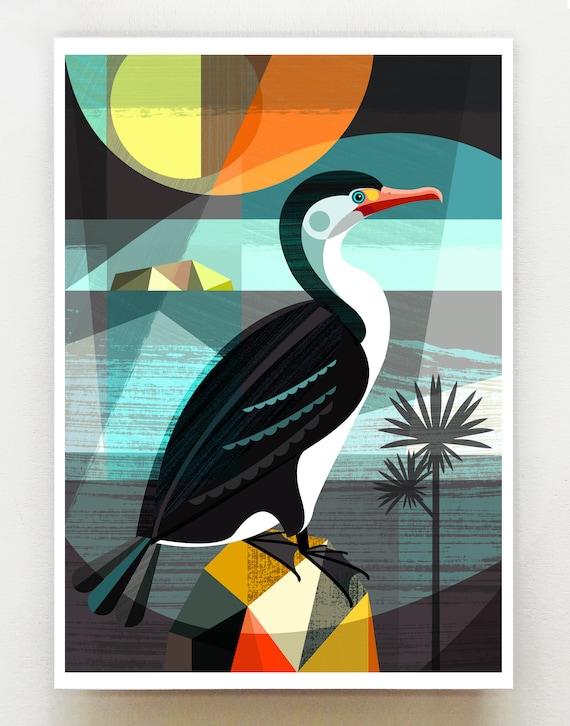 New Zealand Shag, print, NZA82