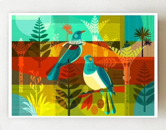Landscape, New Zealand Kereru and Tui, print, NZA15