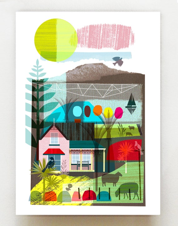 Midday on the Farm, New Zealand print, NZA33