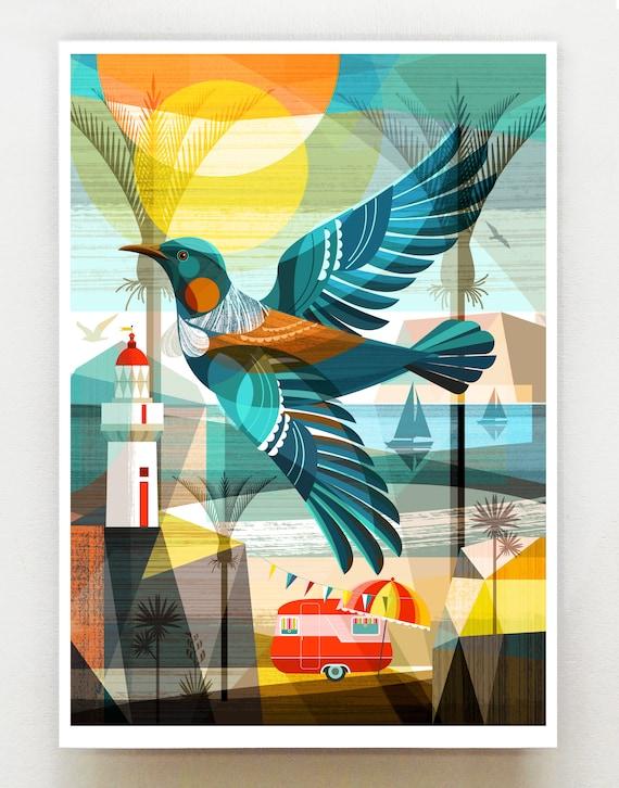 New Zealand, Tui in Flight, print, NZA136
