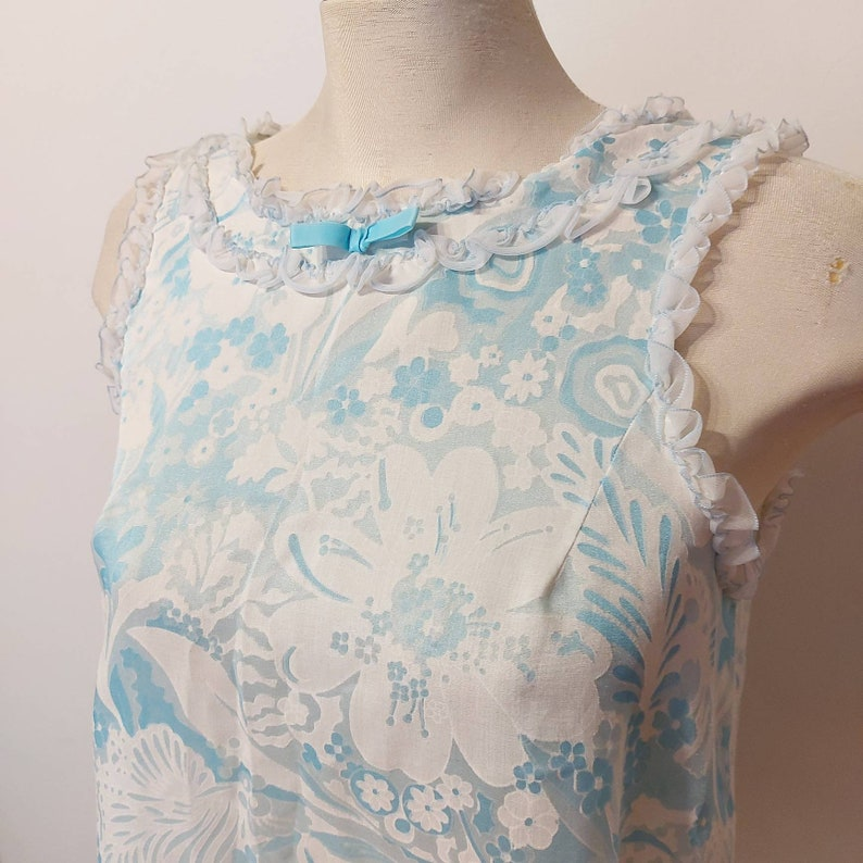 1960s size M Blue burnout floral babydoll nightgown off white and baby blue vintage