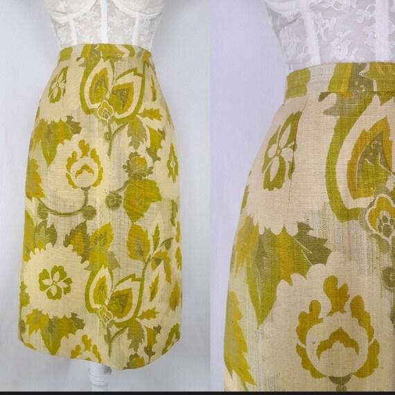 green silk skirt - vintage 1970s Jim Thompson mono