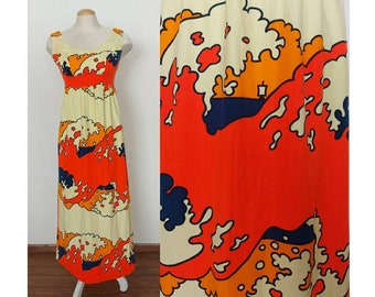 1970s orange Hawaiian maxi dress - Baba Kea Honolulu - size 8 Medium - orange and yellow boat print barkcloth holomu'u - hawaii dress