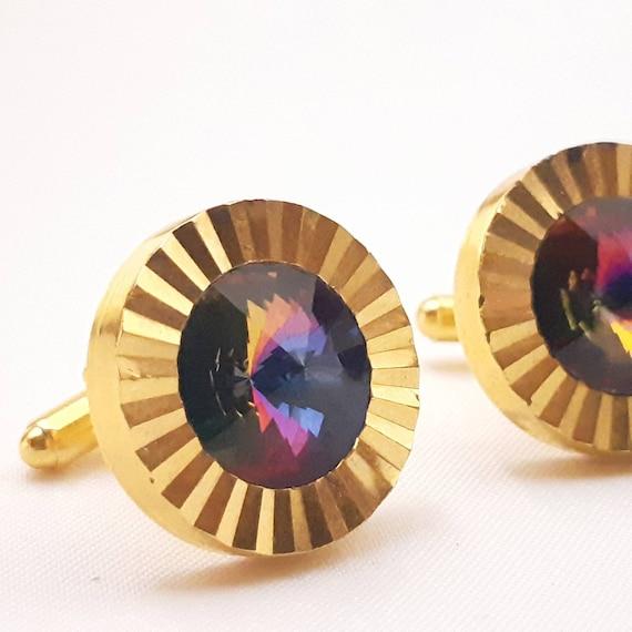 Rainbow tourmaline rivoli cut rhinestone cufflinks