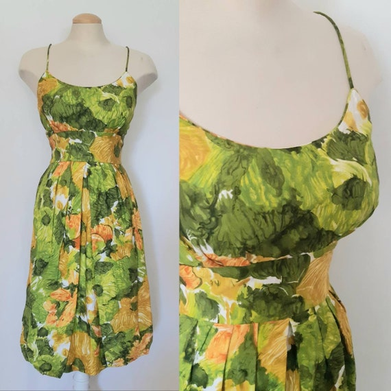 green and yellow tropical dress - vintage 1950s -
