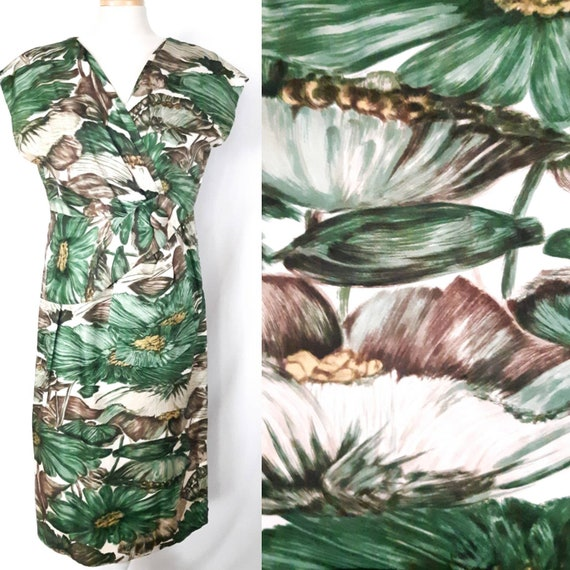couture green floral silk dress - vintage 1950s