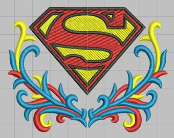 Superman Crest Embellished Logo Wings Machine Embroidery Etsy