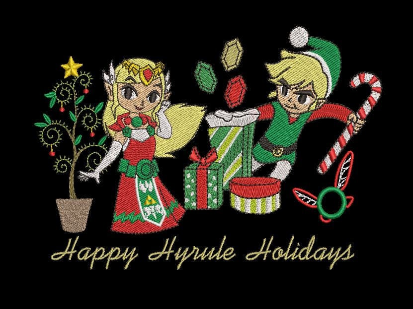 Zelda Machine Embroidery Design Christmas Hyrule Holidays | Etsy