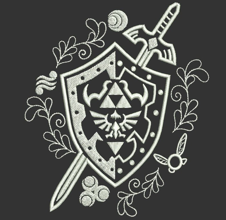 Legend of Zelda Hylian Shield With Master Sword Machine Embroidery design