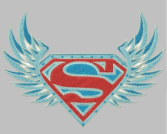 Superman Wappen Verziert Logo Wings Maschinenstickerei Design Etsy