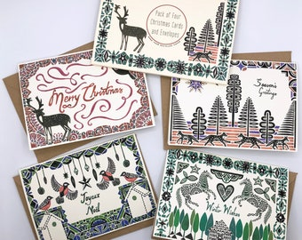 Pack of Four Christmas Cards