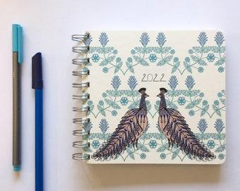Folk Peacock 2022 Diary - Mid Year / Yearly Format