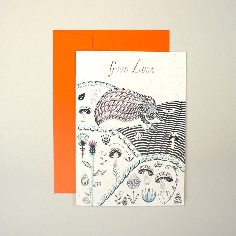 Hedgehog and Pinecones Good Luck Greeting Card