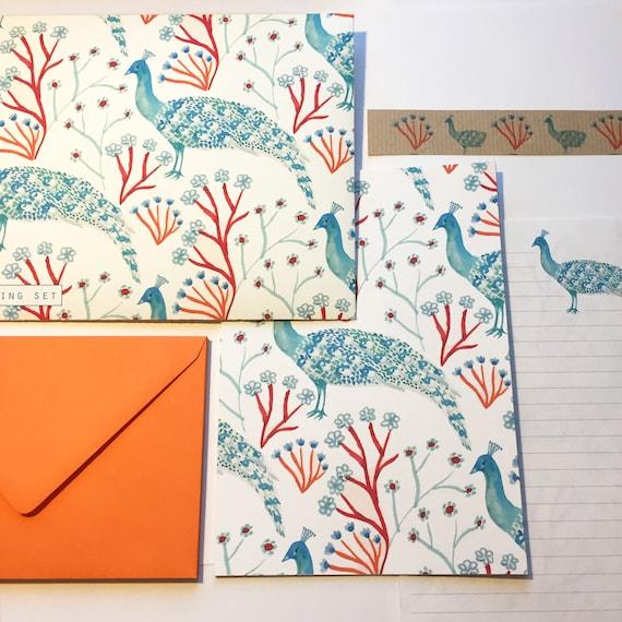 Turquoise Peacock Writing Set
