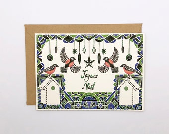 Christmas Card - Birds and Decorations